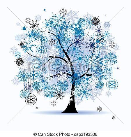 Winter Holiday Clip Art Free | Clip Art Vector of Winter tree, snowflakes Christmas holiday
