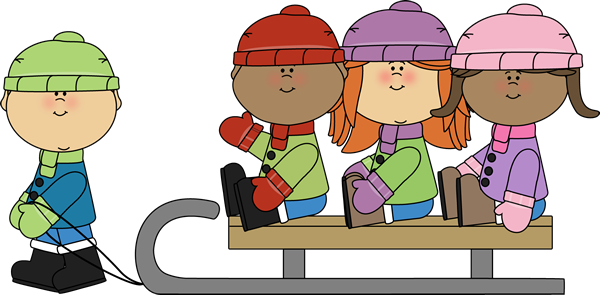 Winter Kids On A Sled Clip Art Winter Kids On A Sled Image