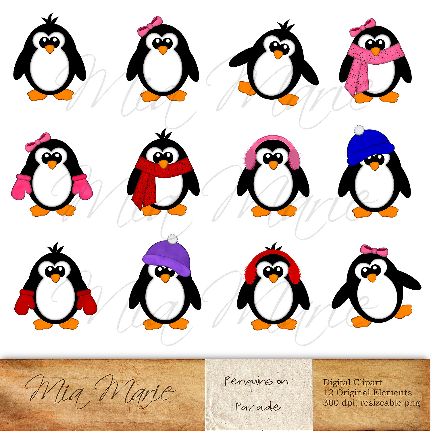 Winter Penguin Clipart Cold Weather Polar Regions Winter Penguin