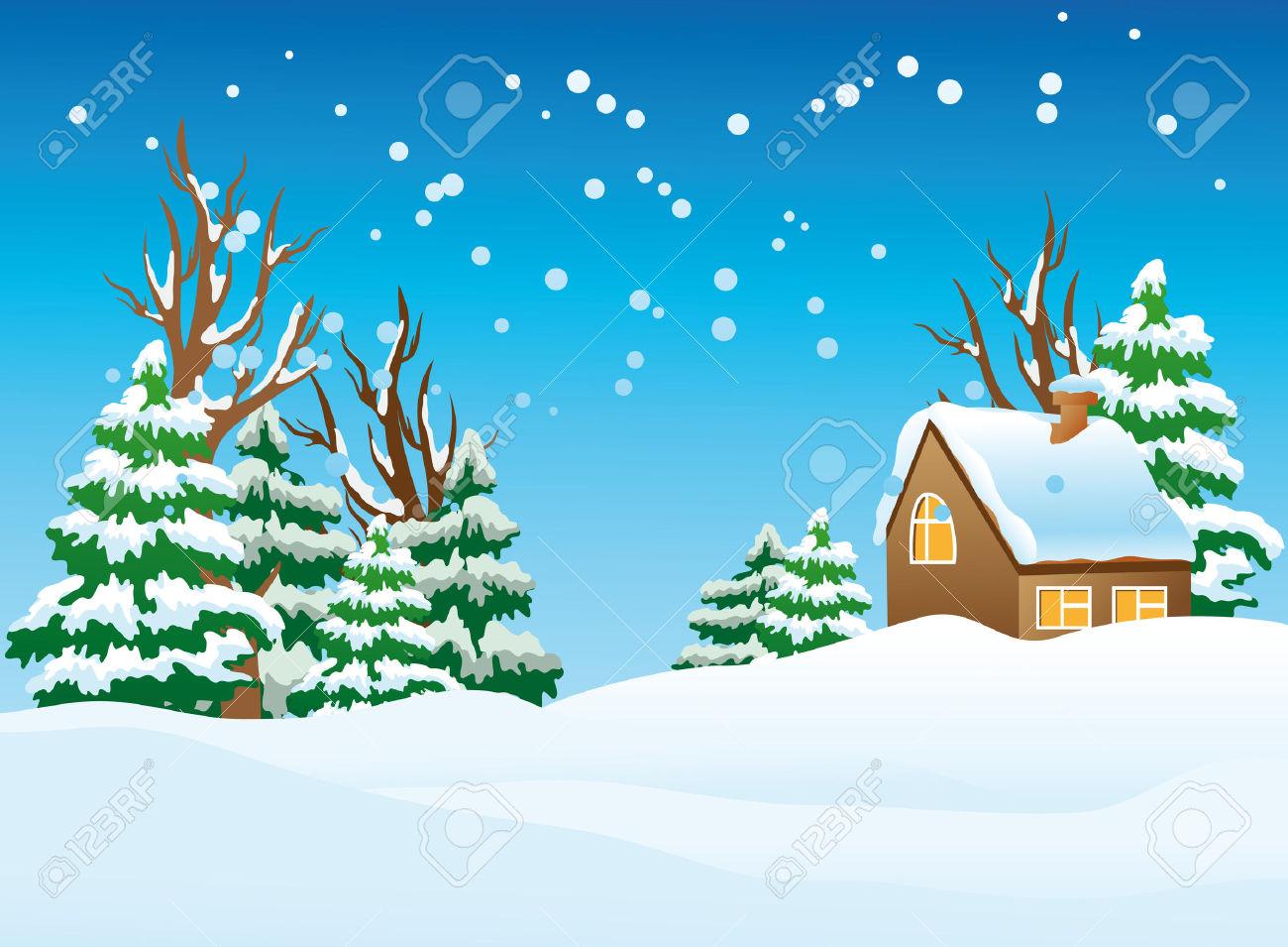 60  Winter Landscape Clip Art