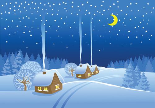Beautiful Winter Landscapes Vector-beautiful winter landscapes vector-1