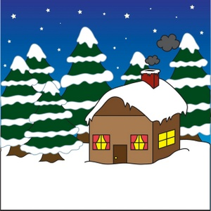 Free Winter Clipart Image: House or Cabin in the Woods Covered in Snow in  the