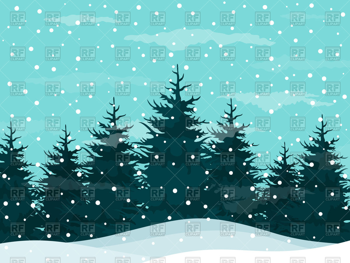 Snow in a pine forest - winter background Royalty Free Vector Clip Art