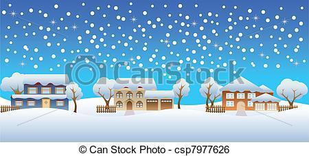 Winter snow on houses - csp7977626