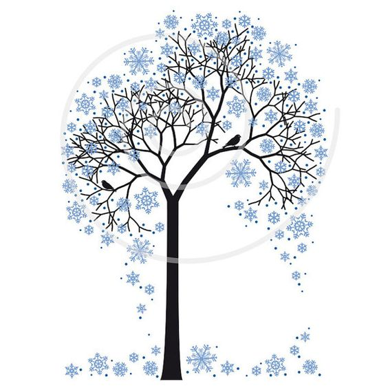 Winter tree with snowflakes and birds, illustration, seasonal, digital, clip art,