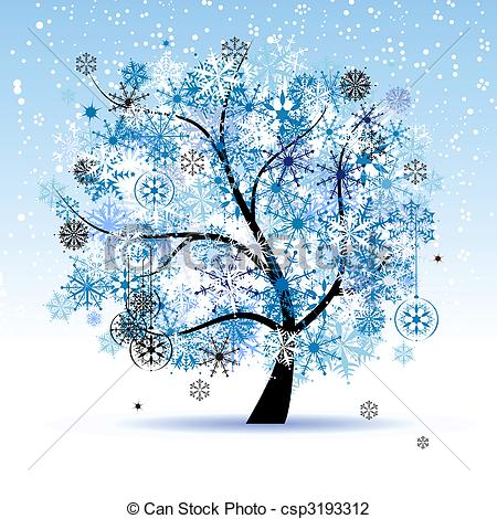 Winter Wallpaper Clipart #1. Christmas holiday. Winter tree .