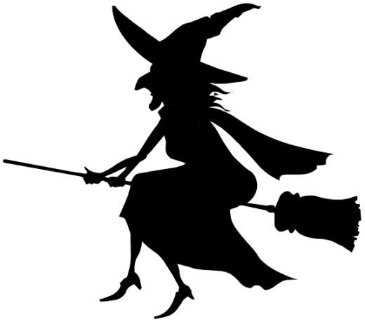 WITCHu0026#39;S SILHOUETTE Free Black u0026amp; White Halloween Clip Art http://wordplay.hubpages