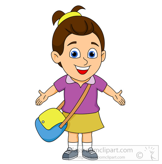 with school bag clipart . - Clipart Of Girl