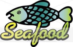 With Seafood Text A Seafood Label In Gleaming Gold Green Lettering