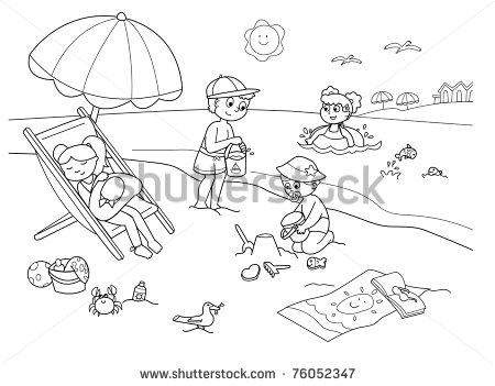 With The Sand At The Beach Cartoon Illustration In Black And White