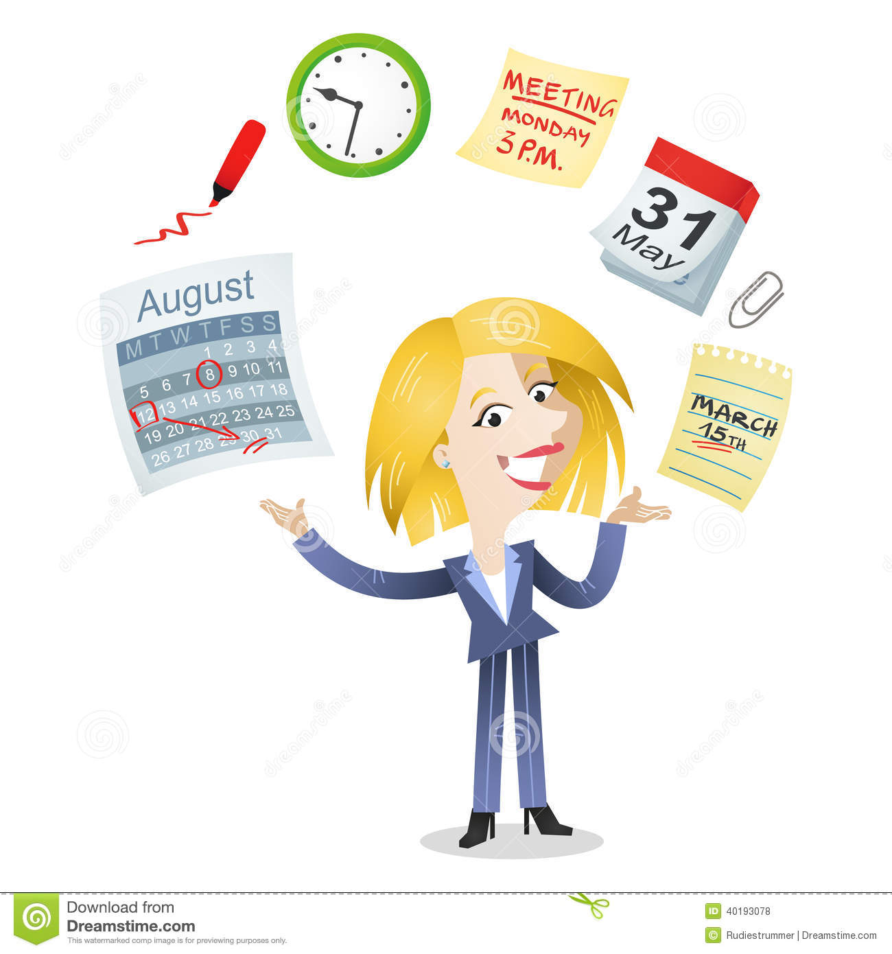 With Time Management Icons Of A Calendar Schedule Meeting Deadline