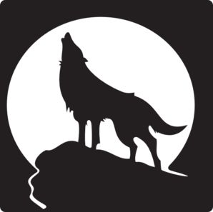 Wolf howling at the moon clip art vector clip art
