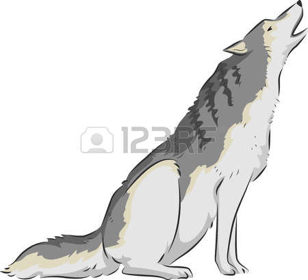 wolf howling: Illustration of a Wolf Howling on Top of its Lungs