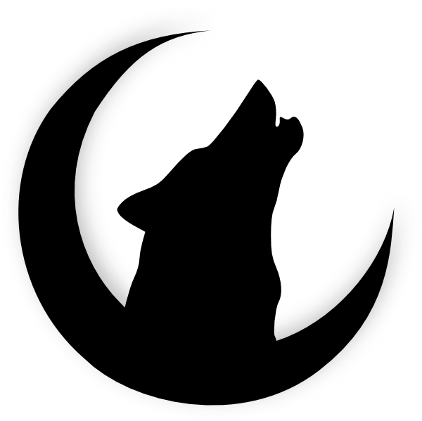 Wolf Howling With Moon clip art