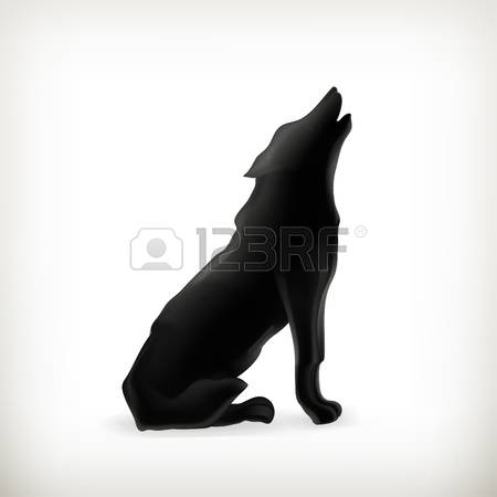 wolf howling: Wolf silhouette