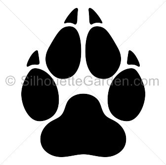Wolf paw print silhouette clip art. Download free versions of the image in  EPS,