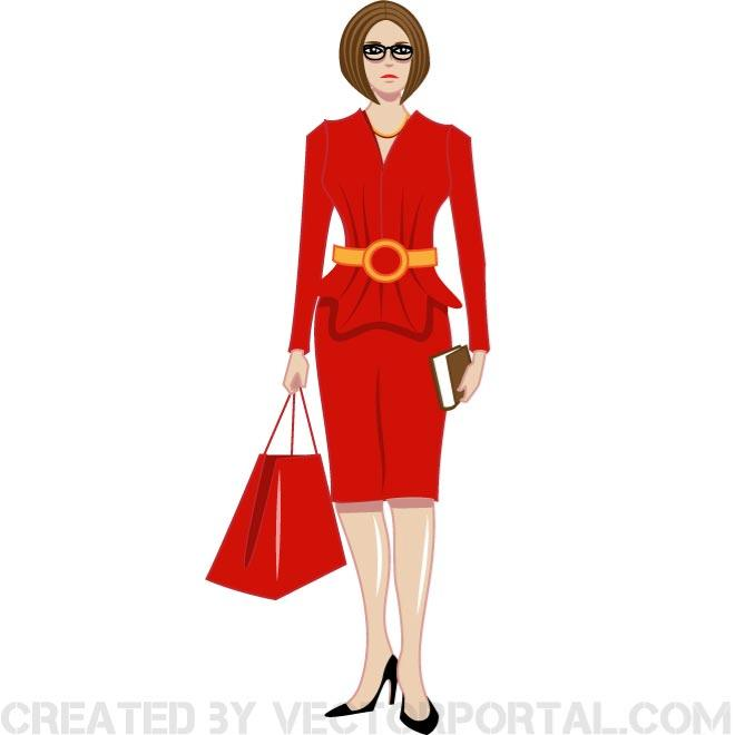 Woman lady in red clip art free vector freevectors