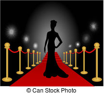 ... Woman Posing Red Carpet Vector - Vector illustration of a.
