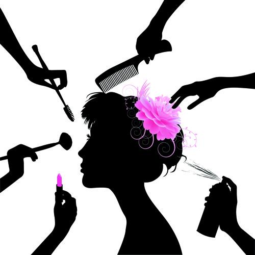 woman with beauty salon vector