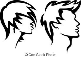 ... womans and mans haircut styles - set of portraits with... ...