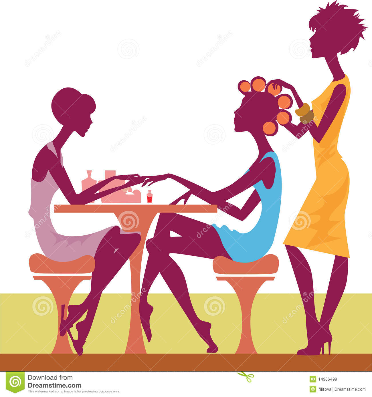 Women in a salon getting a hairstyle and-Women in a salon getting a hairstyle and manicure Royalty Free Stock Images-10