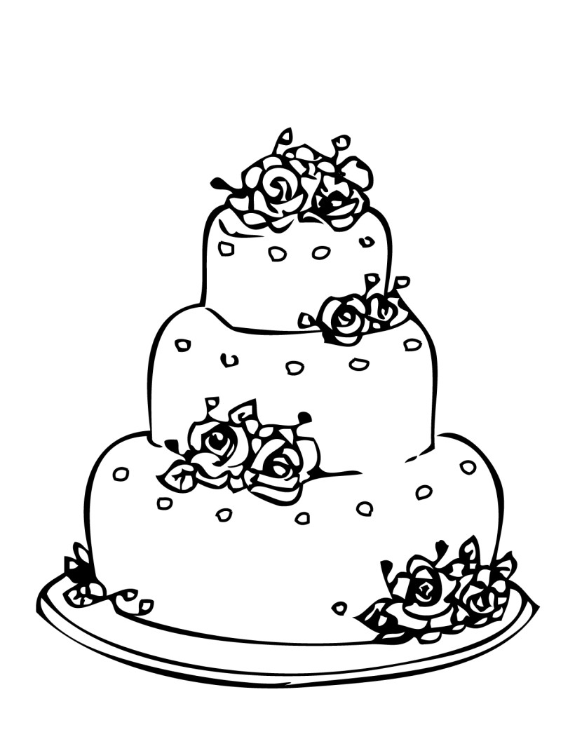 Wonderful Wedding Cake Coloring Pages Spectacular Uncategorized u0026middot; Simple Wedding Cake Clip Art ...