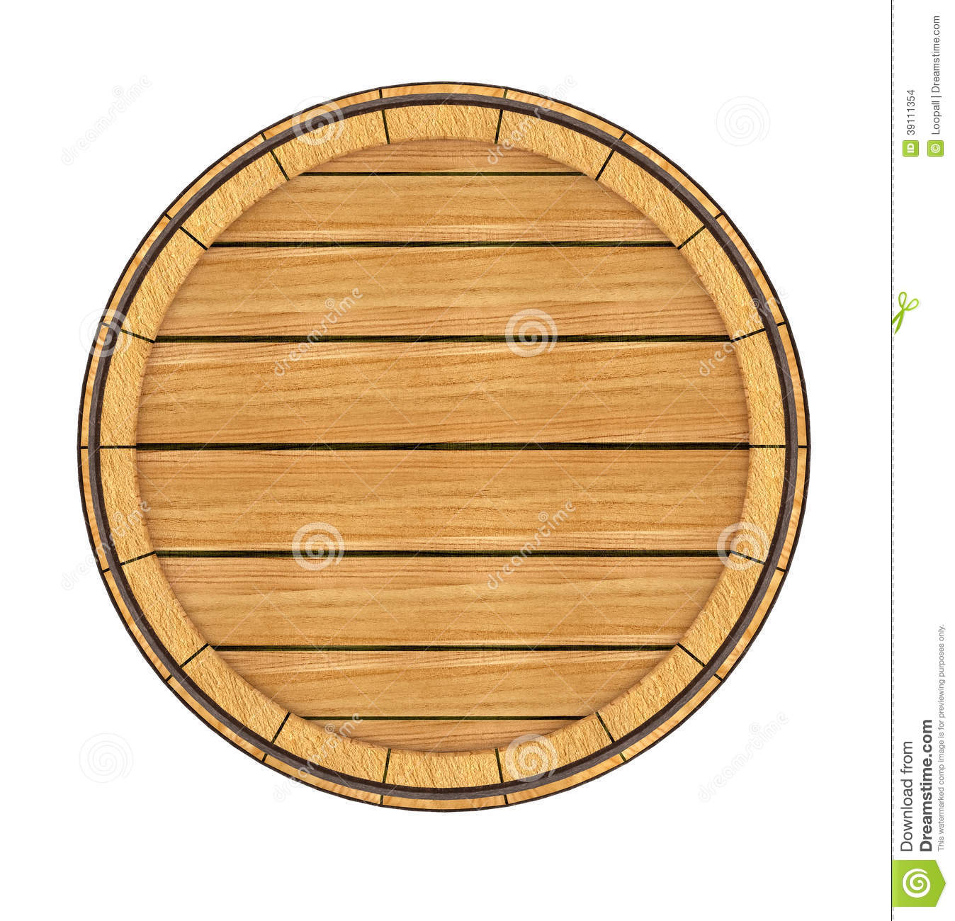 Wooden Barrel Top View 3d Rendered Illustration On White Background