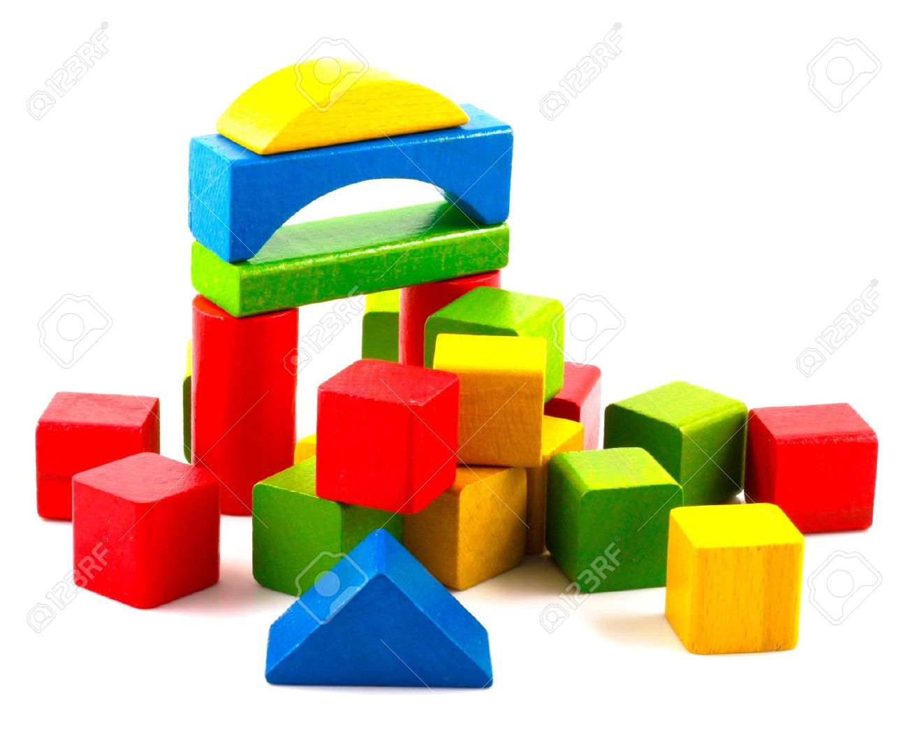 Wooden building blocks .