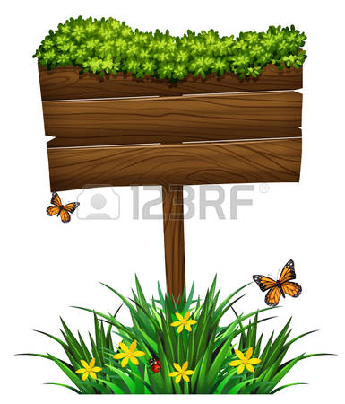 wooden sign: Wooden sign and green bush illustration Illustration