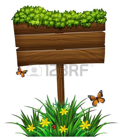 wooden sign: Wooden sign and green bush illustration Illustration