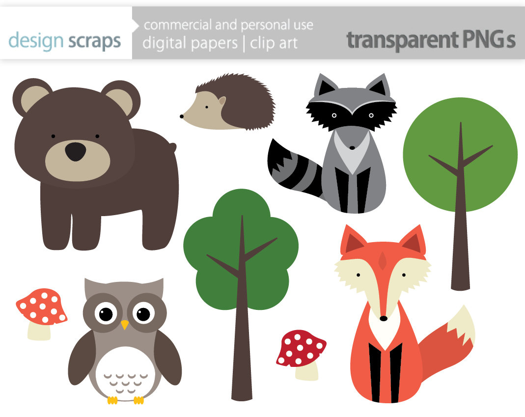 woodland animal clip art grap - Woodland Animal Clipart