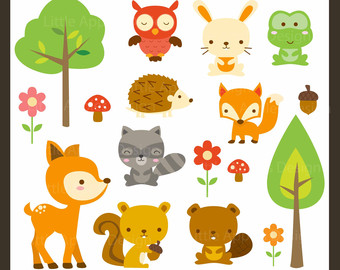 Woodland Animal Clip Art / Woodland Animal Clipart / Forest Animal Clipart / Forest Animal Clip Art / Cute Animal Clipart / Owl Clipart