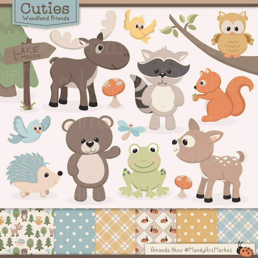 Woodland Animals Clipart . - Woodland Animal Clipart