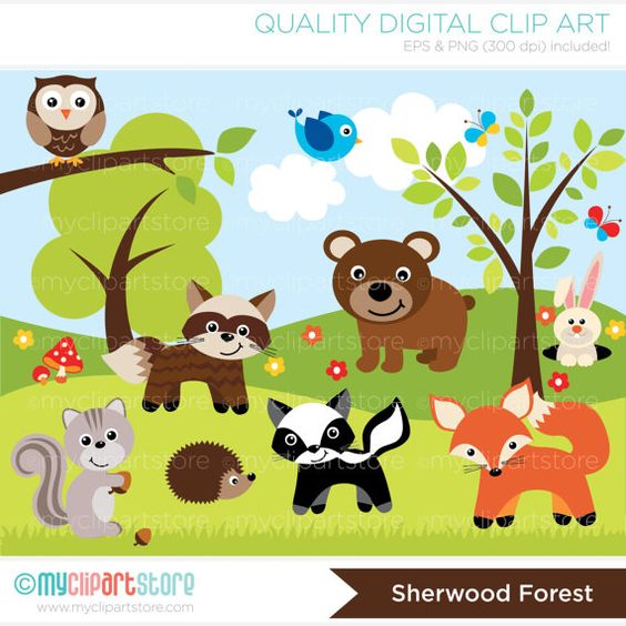 woodland clip art | Woodland  - Forest Animals Clipart