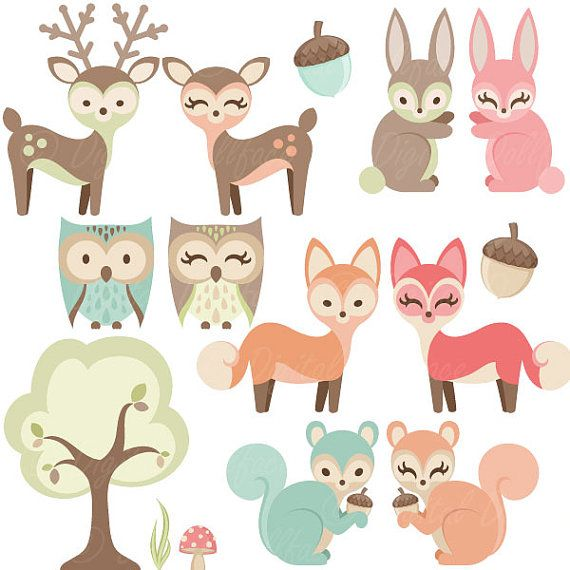 Woodland Nursery Clipart Baby - Woodland Animal Clipart