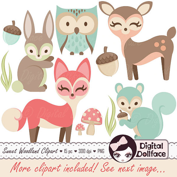 Woodland Nursery Clipart, Baby Animals C-Woodland Nursery Clipart, Baby Animals Clip Art, Forest Friends Baby Shower, Fox,-19