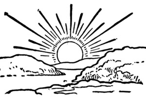 Word clip art coloring pages coloring page sunrise