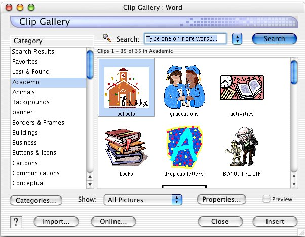 Word v.x for Macintosh Clip Art Search Window looks similar to Word2000. Notice the Online... button, which takes you to Microsoftu0026#39;s online Clip Art gallery
