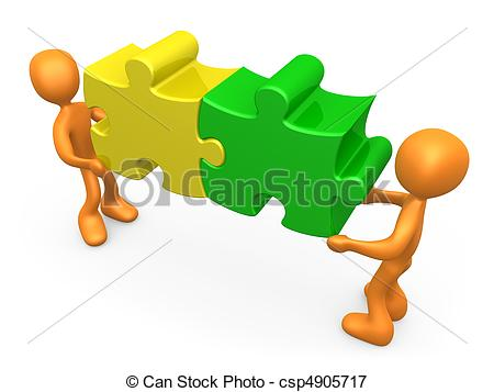 ... Working Together - 3d people carrying two connected puzzle.