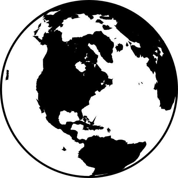 World globe clipart black and .