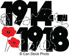 World War One - First World War dates in symbolic vector.