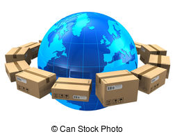 ... Worldwide Shipping Concept: Row Of C-... Worldwide shipping concept: row of cardboard boxes around.-19