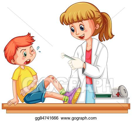 Health Icon Set; Doctor Cleanin Up The W-Health icon set; Doctor cleanin up the wound of boy-14
