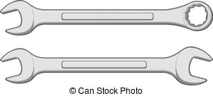 Wrench - Illustration Of One Closed End -Wrench - Illustration of one closed end wrench and one open.-14
