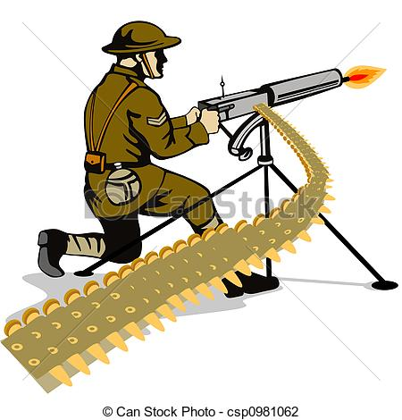 ... Ww1 u0026middot; Clip Art Of Soldier Firing A Gun Illustration On The Military