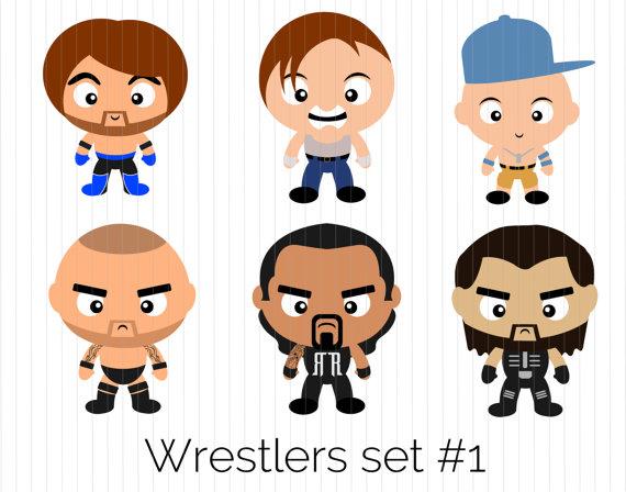 Wrestling Clipart - AJ Styles, Dean Ambr-Wrestling Clipart - AJ Styles, Dean Ambrose, John Cena, Randy Orton, Roman  Reigns, Seth Rollins, WWE, Instant Download, PNG, cute, funko pop-9