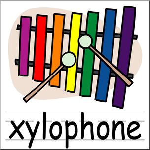 Clip Art: Basic Words: Xylophone Color Labeled I abcteach clipartlook.com - preview 1