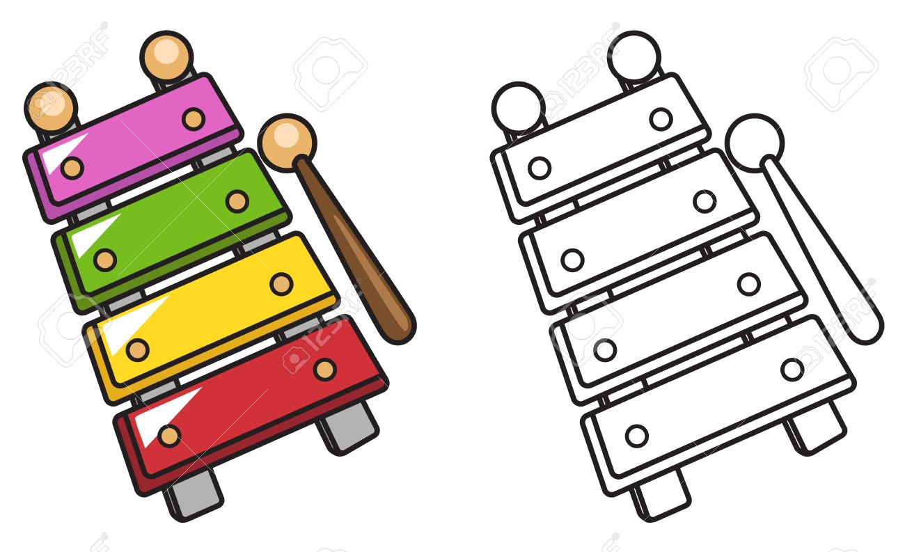 Clipart Of Xylophone Illustration Isolated Colorful And Black White