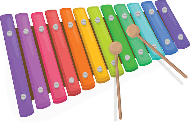 Colorful xylophone with mallets on a white background vector art  illustration