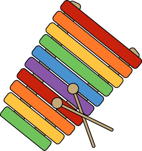 Xylophone Clip Art Image - colorful xylophone with mallets.